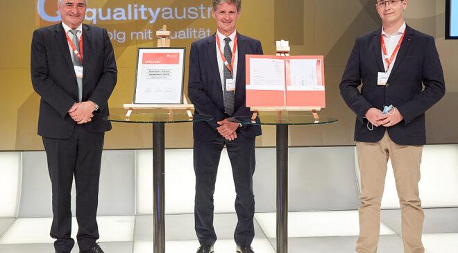 Foto: Konrad Scheiber (Geschäftsführer Quality Austria), Alexander Woidich (Vorsitzender der Jury), Matthias Kratky (Qualitäts-Talent 2019) © Georges Schneider