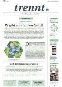 Cover: trennt, Fachzeitung der ARA